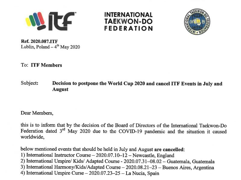 Letter to postpone WC 2020