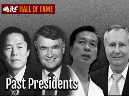 Four faces of past presidents of ITF, From left to right: General Choi Hong Hi, Honorable Russell MacLellan, Grand Master Trân Triêu Quân and Grand Master Pablo Trajtenberg.